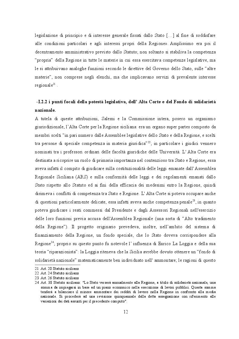 Estratto dalla tesi: L'autonomia della regione siciliana in materia di organizzazione e funzionamento
