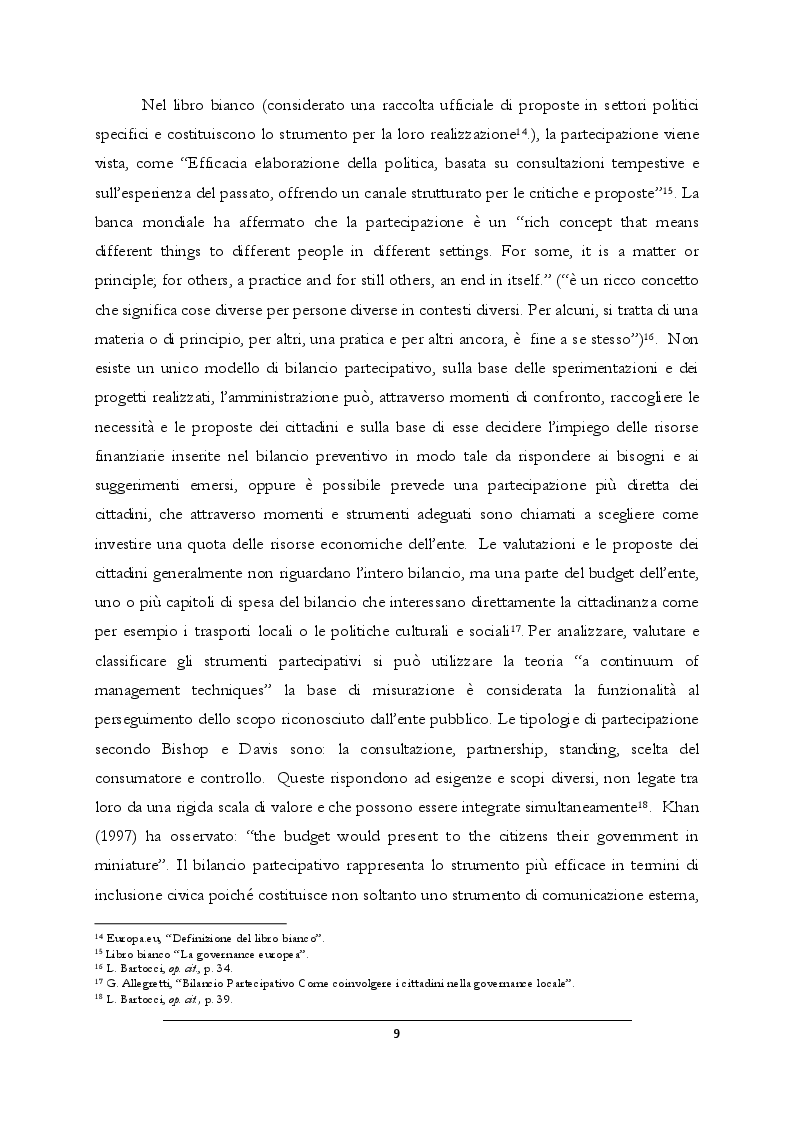 Estratto dalla tesi: Il bilancio partecipativo nel comune di Modena: nascita, evoluzione e stato d'arte