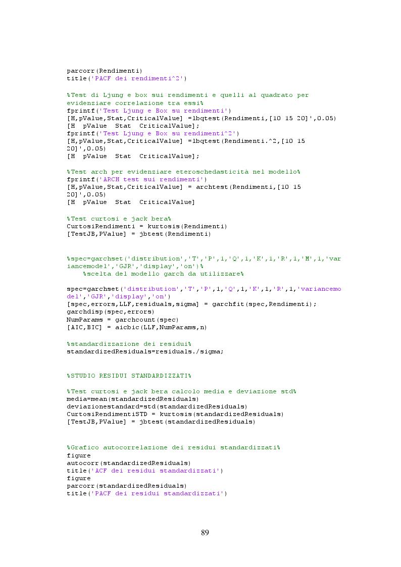 Estratto dalla tesi: Simulazioni storiche filtrate per il calcolo del VaR