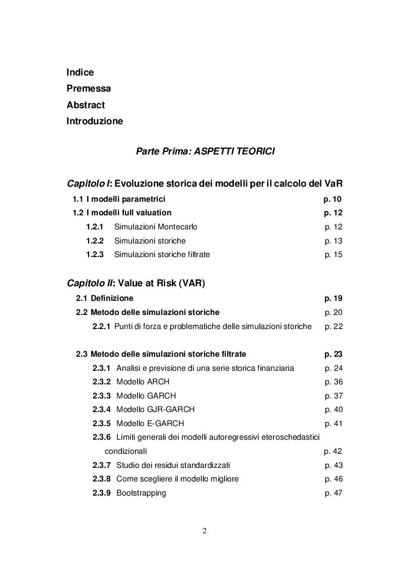 Indice della tesi: Simulazioni storiche filtrate per il calcolo del VaR, Pagina 1