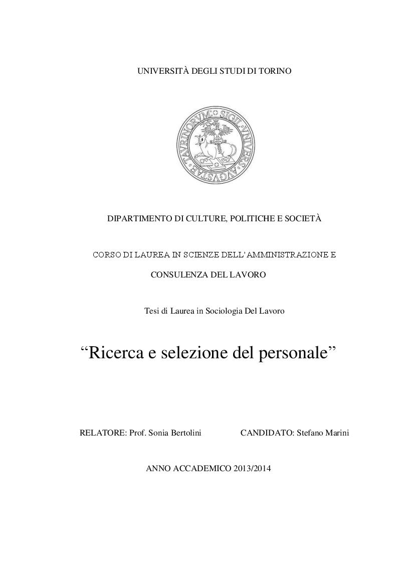Anteprima della tesi: Ricerca e selezione del personale, Pagina 1