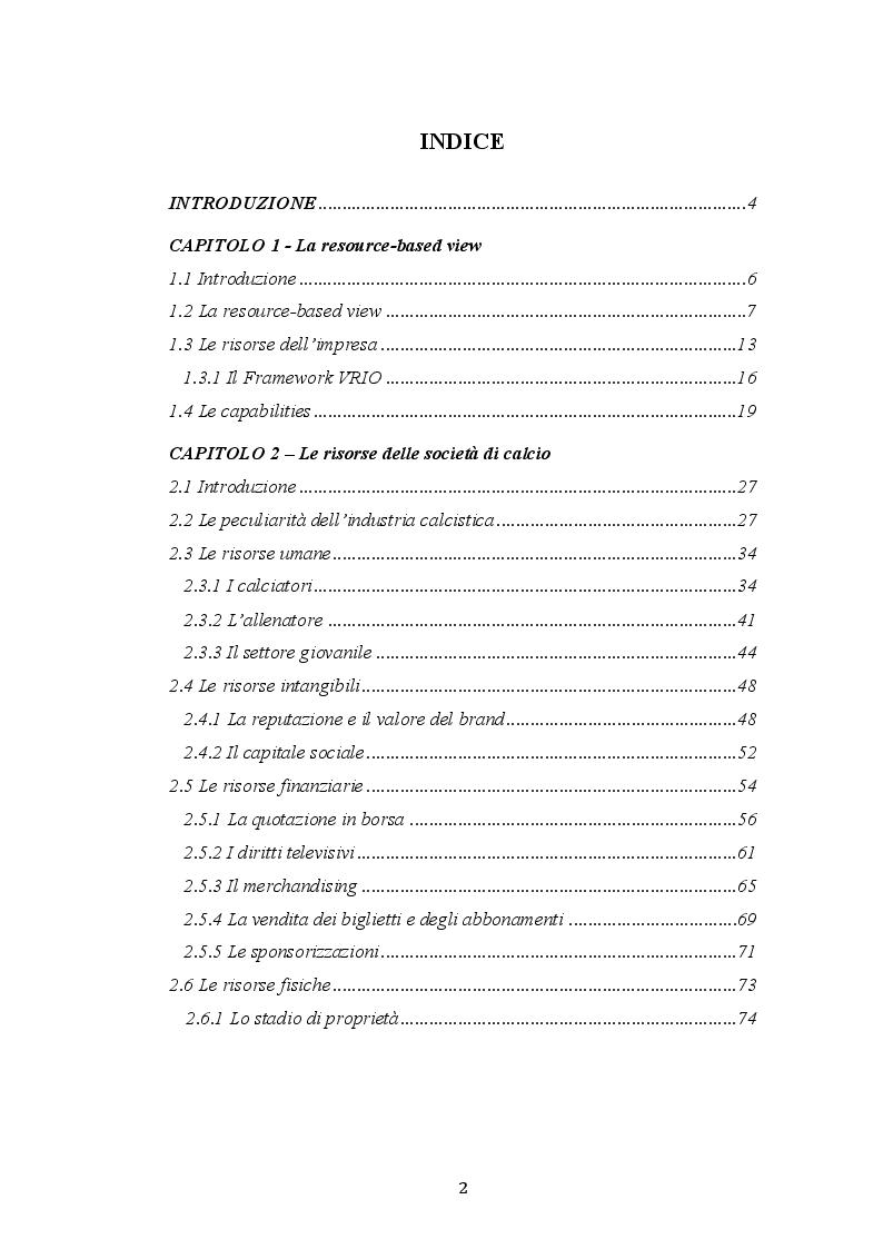 Indice della tesi: Le determinanti delle performance delle società calcistiche: un'analisi resource-based, Pagina 1