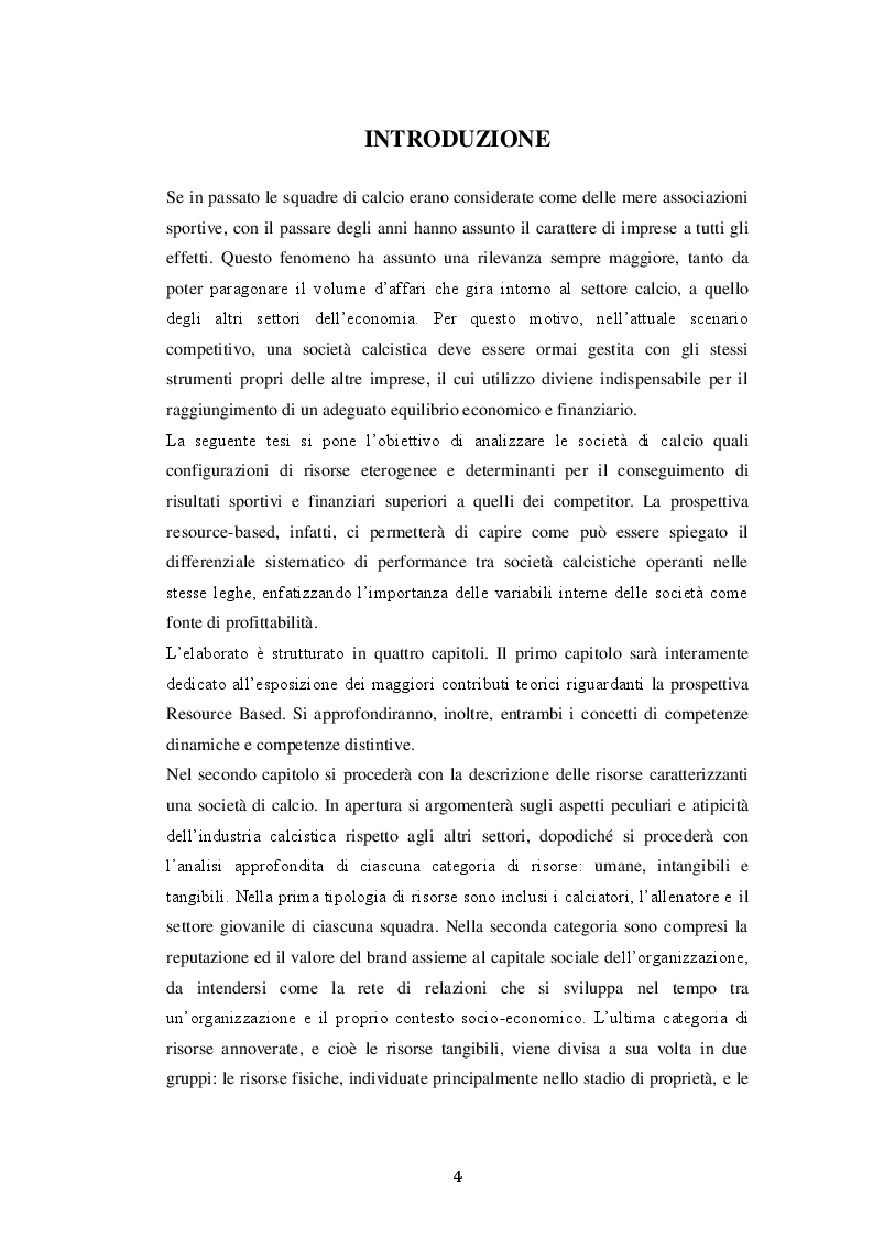 Le determinanti delle performance delle società calcistiche: un'analisi resource-based - Tesi di Laurea