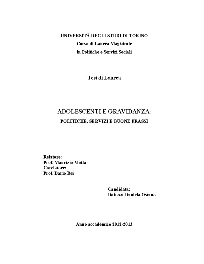 Anteprima della tesi: Adolescenti e gravidanza: politiche, servizi e buone prassi, Pagina 1