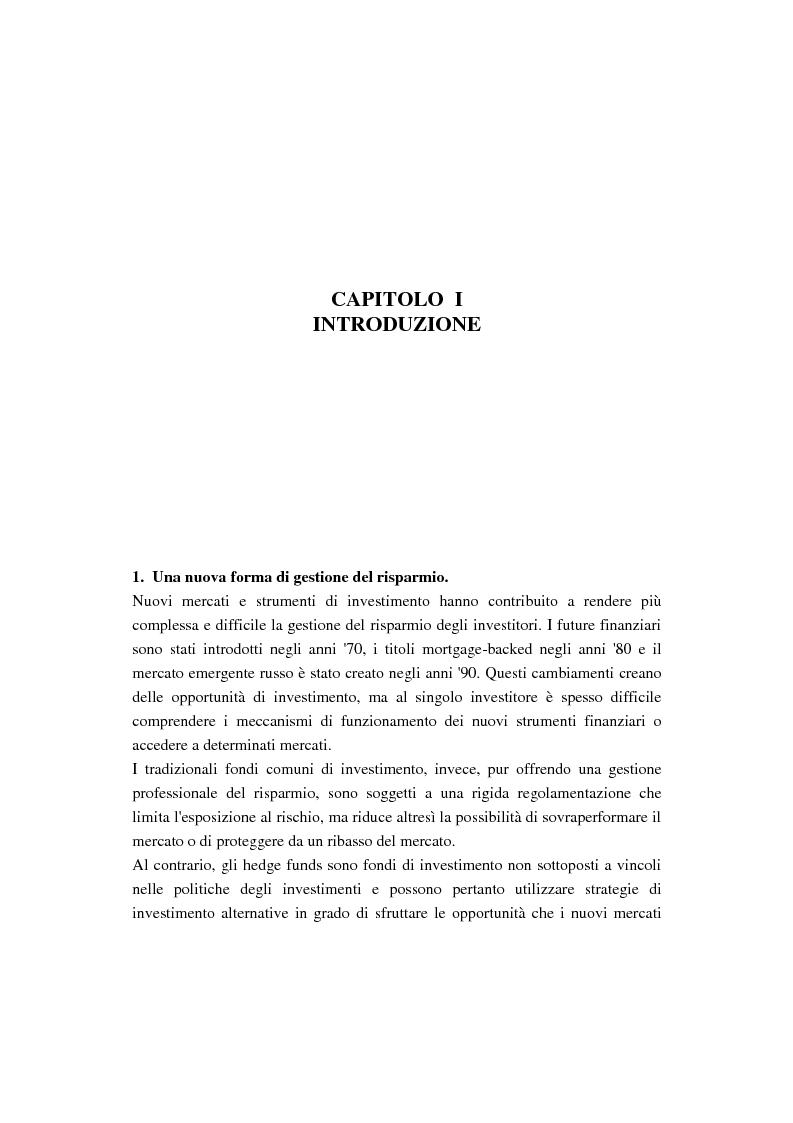 Anteprima della tesi: Gestione del risparmio e hedge funds, Pagina 1
