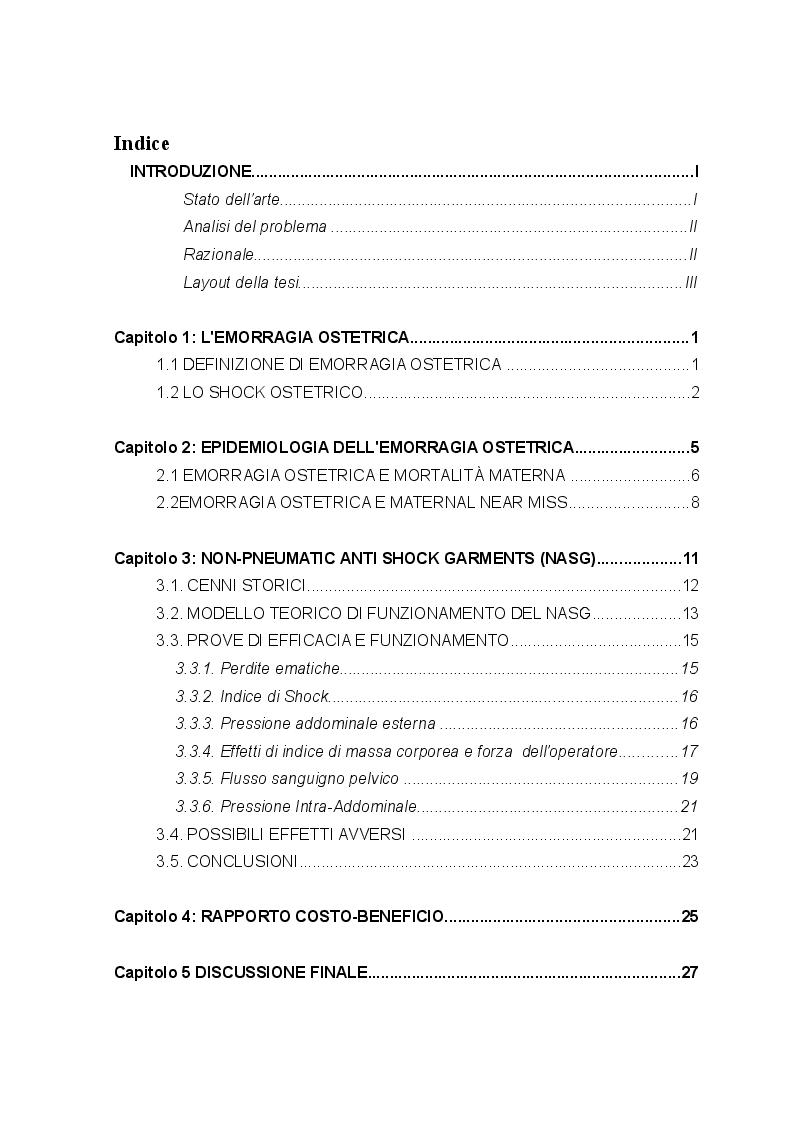 Indice della tesi: Emorragia e Shock: uso dell'indumento non pneumatico anti-shock nell'emergenza ostetrica, Pagina 1