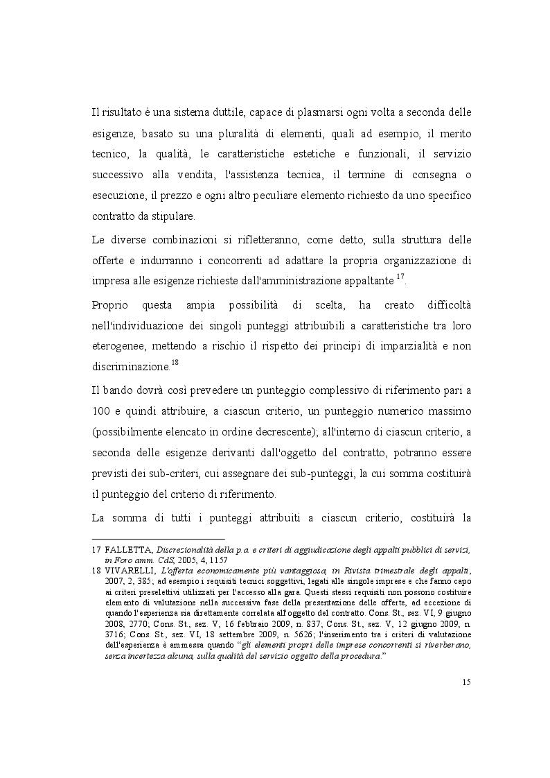 Estratto dalla tesi: La valutazione delle offerte nel codice dei contratti pubblici relativi a lavori, servizi e forniture