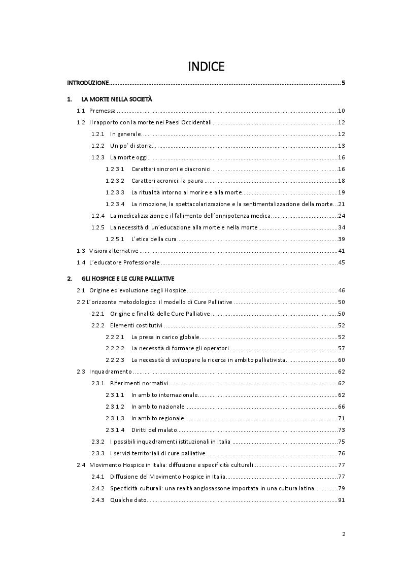 Indice della tesi: L'Educatore Professionale e l'accompagnamento alla morte. Riflessioni sulle possibilità di un lavoro educativo in hospice., Pagina 1