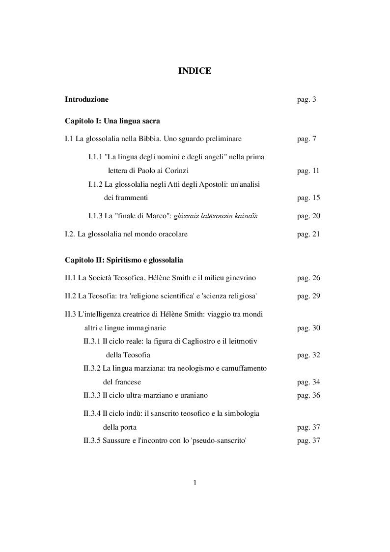 Indice della tesi: Le lingue degli uomini e degli angeli. La glossolalia nel movimento pentecostale, Pagina 1