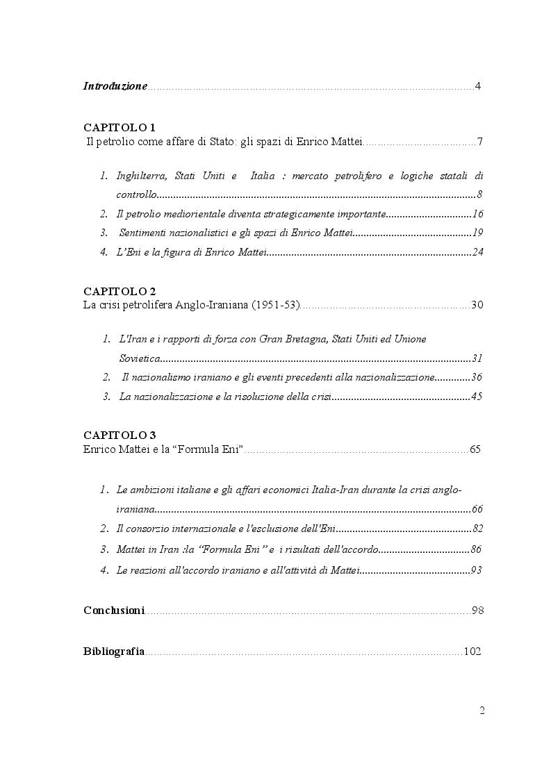 Indice della tesi: Enrico Mattei e la ''Formula Eni'': l'ingresso italiano in Iran e le prospettive dell'accordo ENI-NIOC, Pagina 1