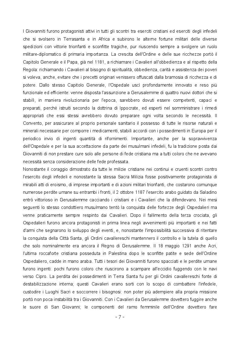 Estratto dalla tesi: Tuitio fidei et obsequium pauperum: la vita all'ombra della croce ottagona.