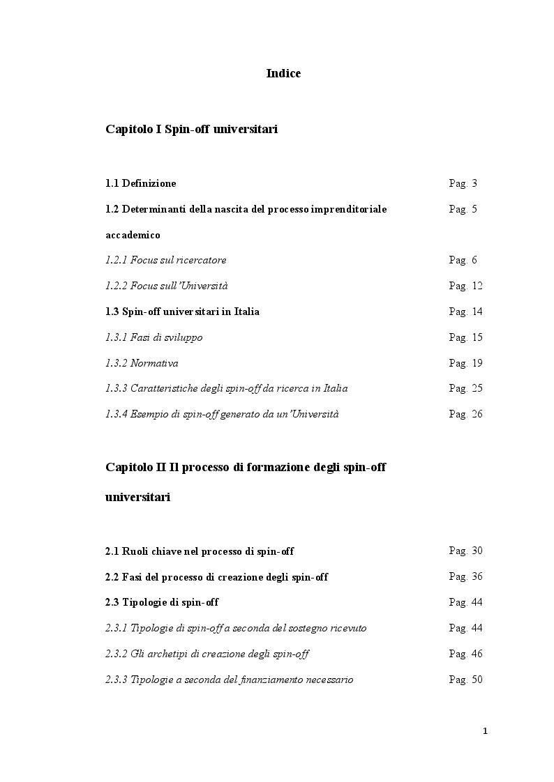 Indice della tesi: Lo sviluppo degli spin-off universitari, Pagina 1