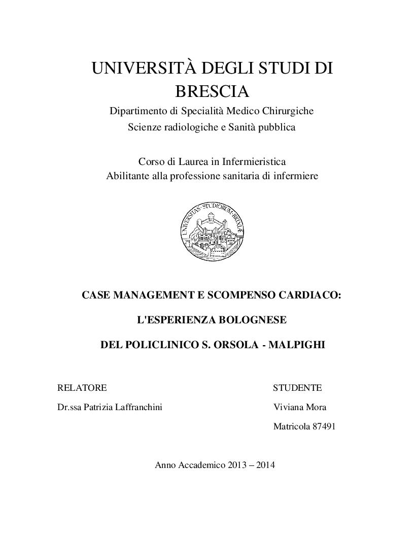 Anteprima della tesi: Case Management e Scompenso Cardiaco: l'esperienza bolognese del Policlinico S.Orsola - Mapighi, Pagina 1