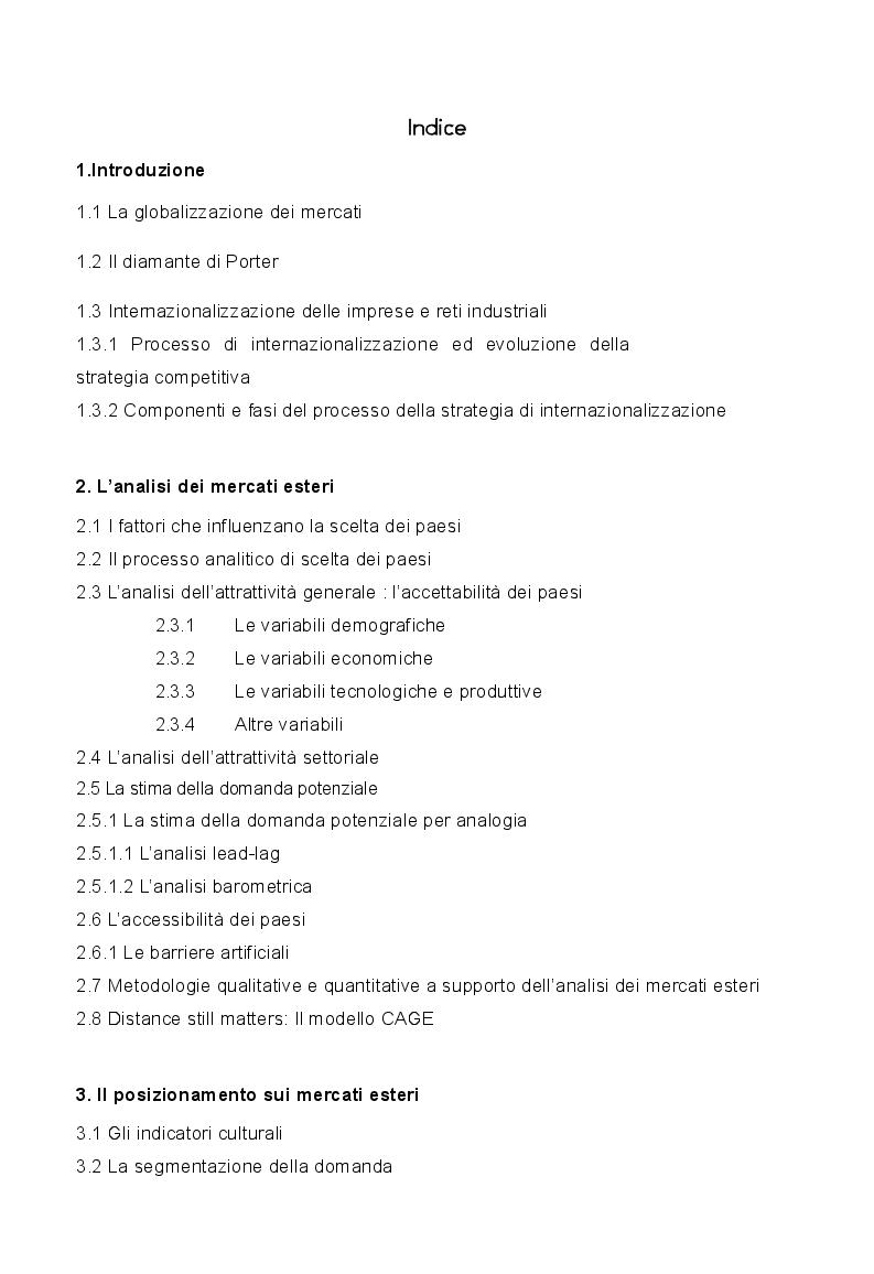 Indice della tesi: Strategie di marketing e comunicazione nel processo di internazionalizzazione, Pagina 1