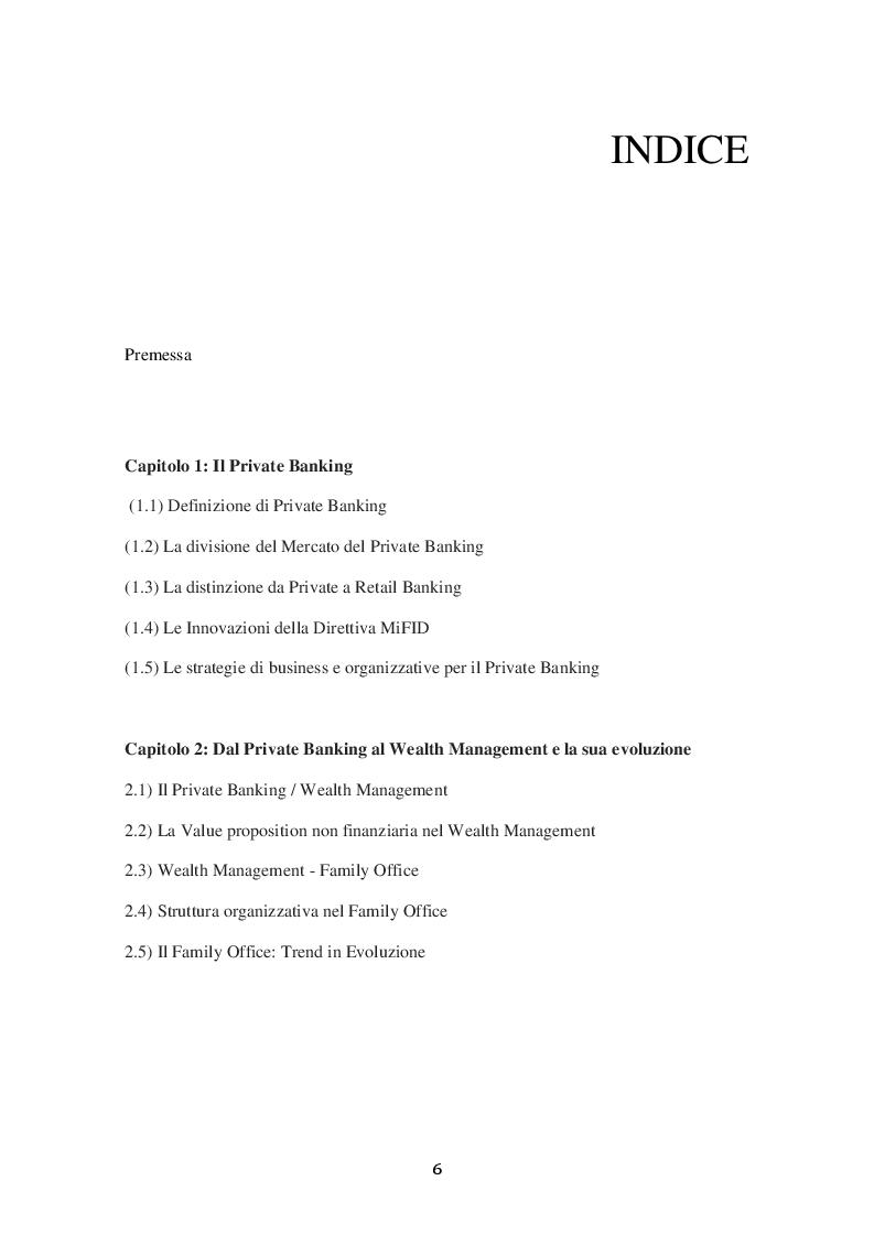 Indice della tesi: Evoluzione nel Mercato Italiano e Internazionale del Private Banking ai servizi Wealth Management sulla clientela High Net Worth., Pagina 1