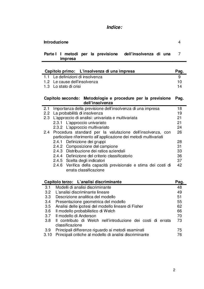 Indice della tesi: Applicazione dell'analisi discriminante alle previsioni di insolvenza. Una analisi per il settore imprese tessili., Pagina 1