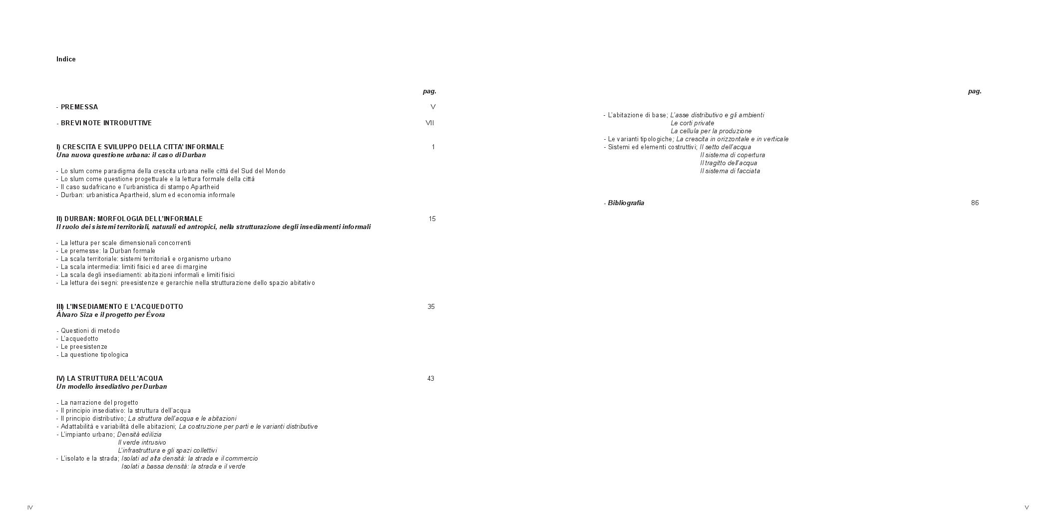 Indice della tesi: Durban: la città marginale. Morfogenesi di un modello insediativo, Pagina 1