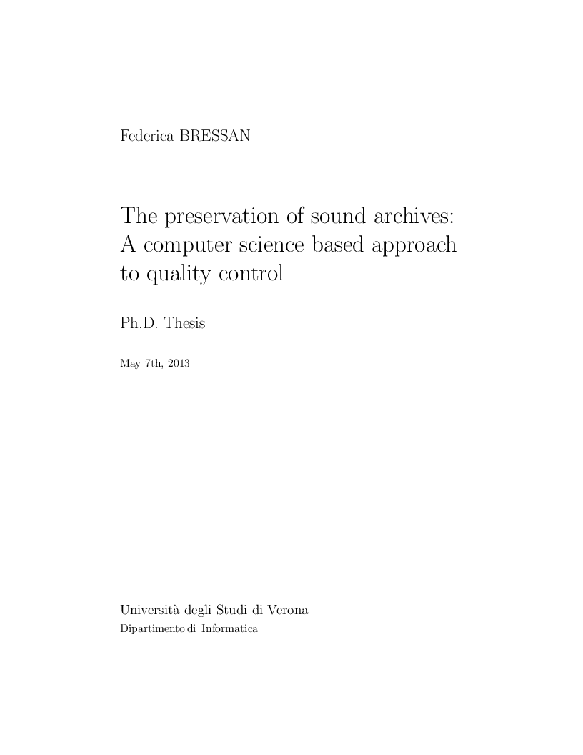 Anteprima della tesi: The preservation of sound archives: A computer science based approach to quality control, Pagina 1