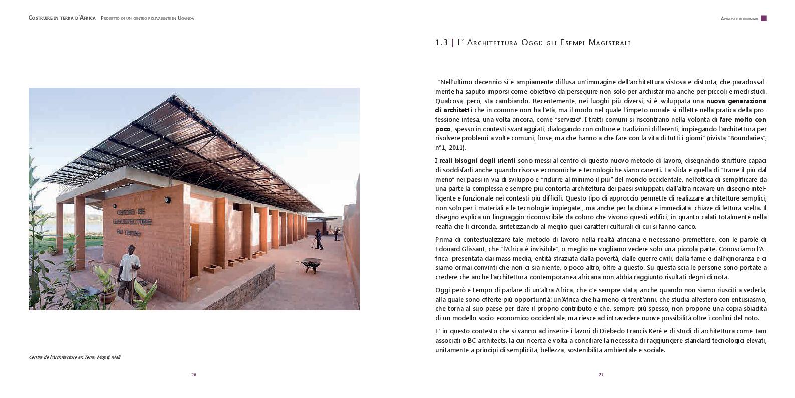 Estratto dalla tesi: Costruire in terra d'Africa: progetto di un centro polifunzionale in Uganda