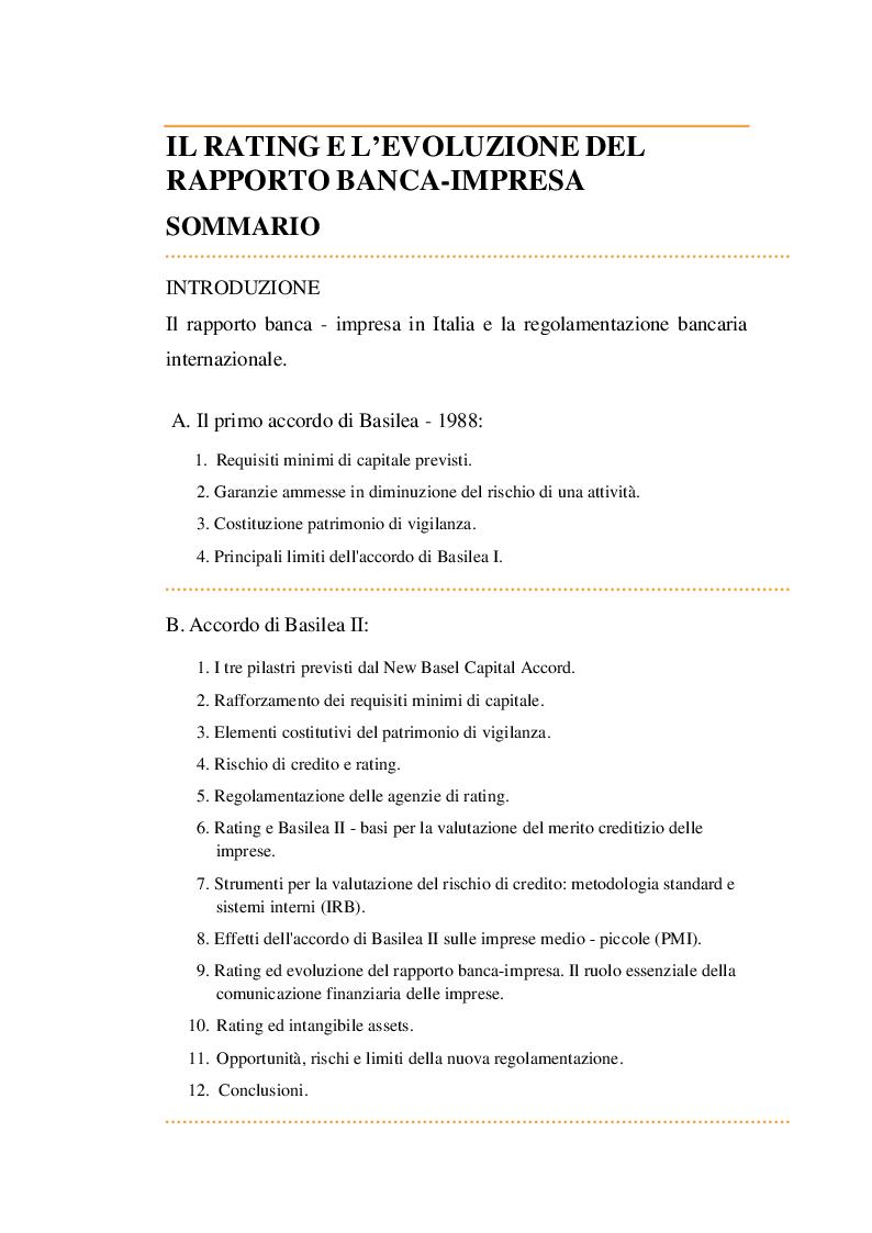 Indice della tesi: Il rating e l'evoluzione del rapporto Banca-Impresa, Pagina 1