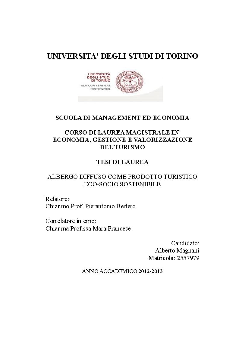 Anteprima della tesi: Albergo Diffuso come prodotto turistico eco-socio sostenibile, Pagina 1