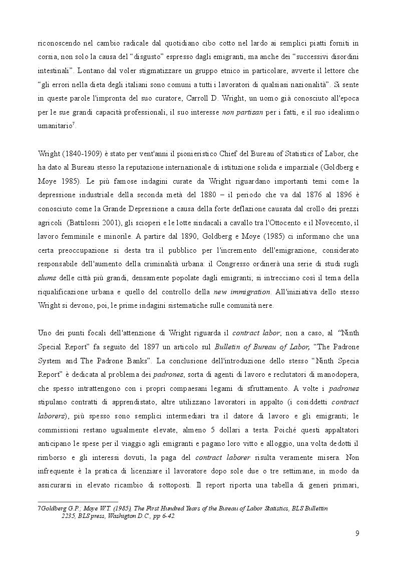 Estratto dalla tesi: Le condizioni di vita degli italiani a Chicago alla fine dell'Ottocento