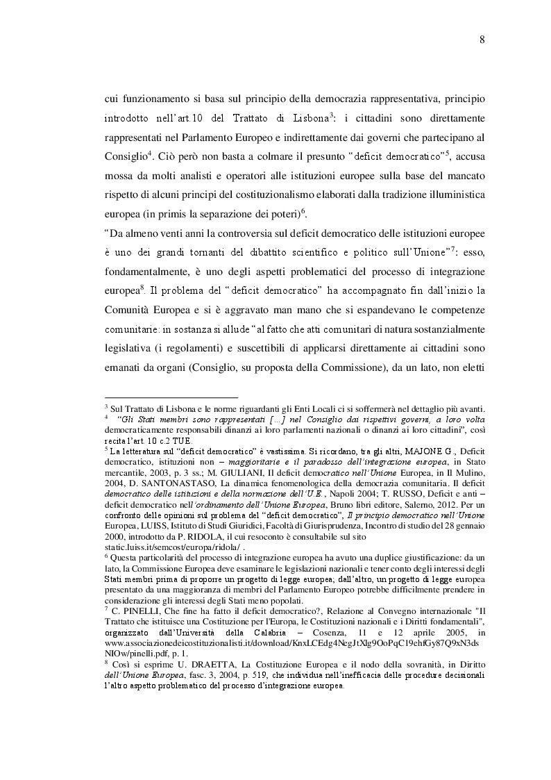 Estratto dalla tesi: Il ruolo degli Enti Locali nell'Unione Europea