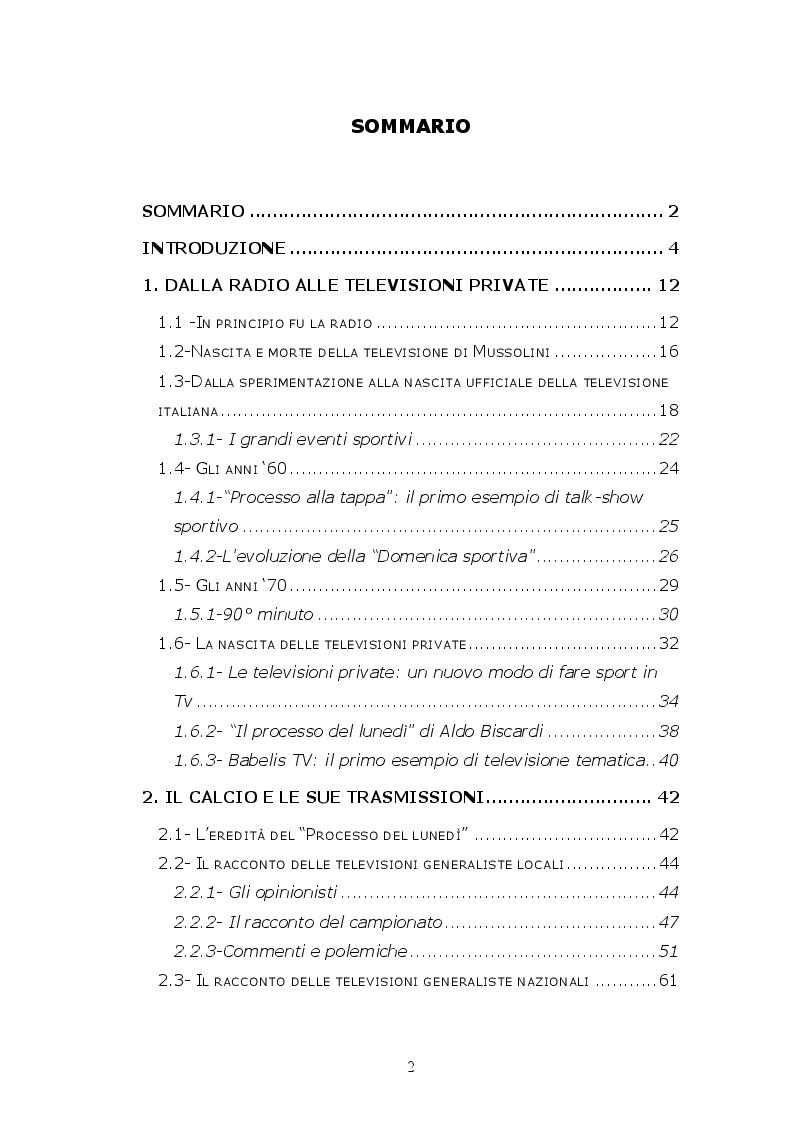Indice della tesi: Calcio in tv: quando lo sport diventa show, Pagina 1