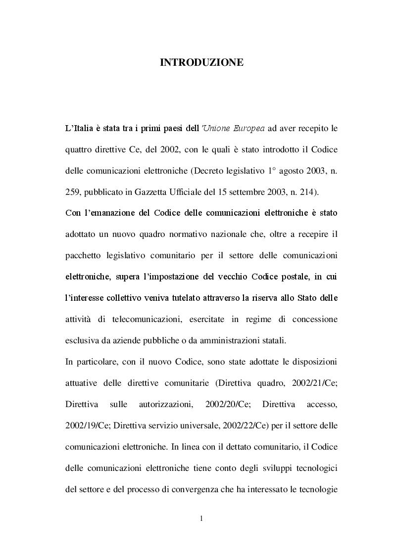 La potest� legislativa regionale nel settore delle comunicazioni elettroniche - Tesi di Laurea