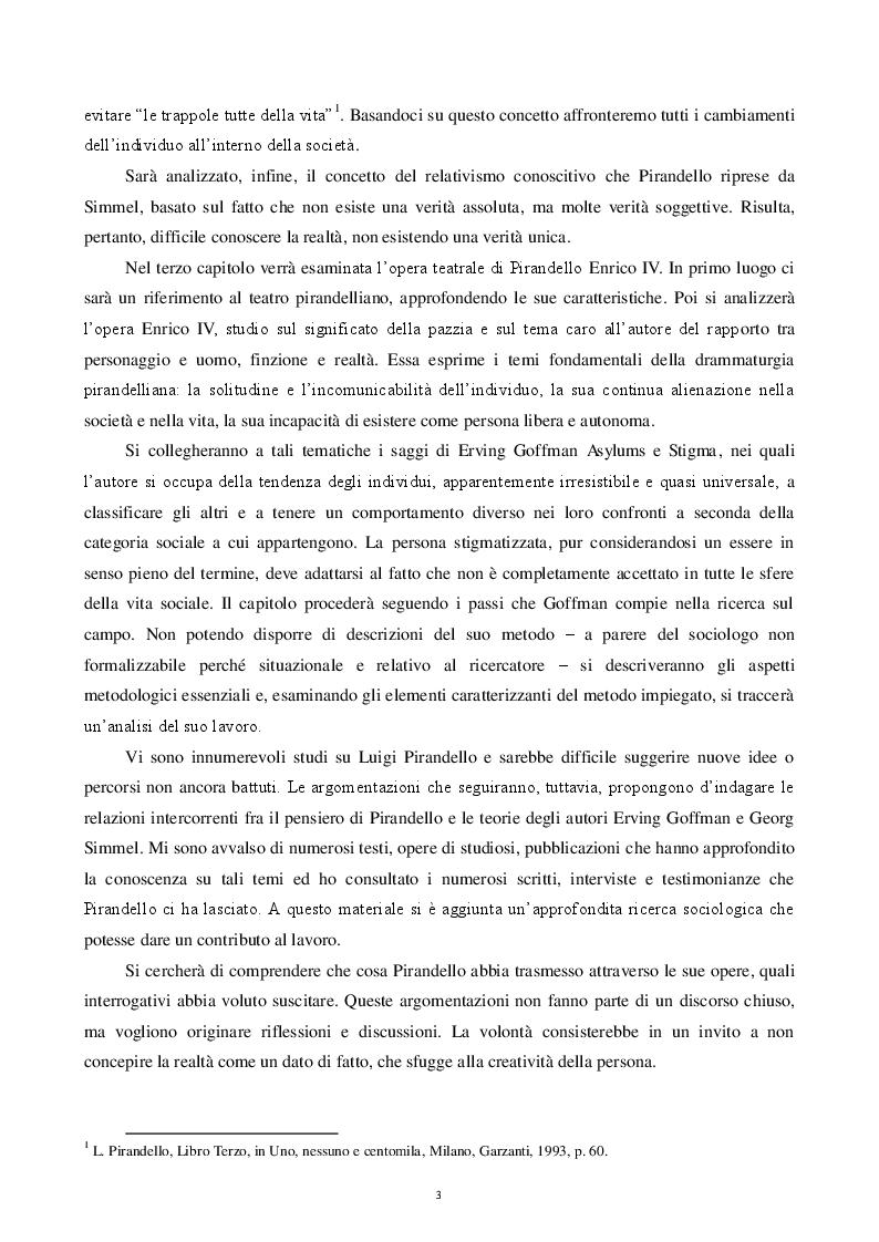 Anteprima della tesi: La condizione dell'uomo secondo Pirandello. Analisi delle interazioni sociali dell'''uomo-attore'', Pagina 3