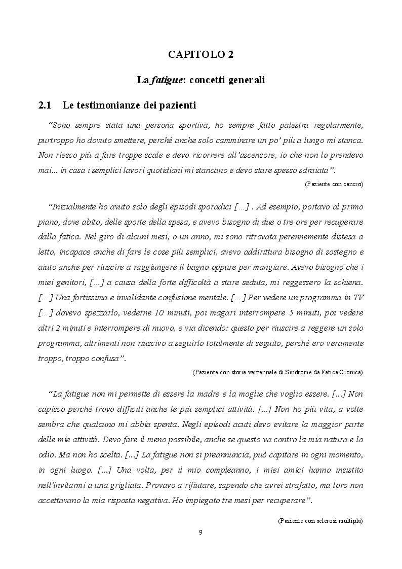 Estratto dalla tesi: Fatigue cancro-correlata: questioni e aspetti del piano di assistenza infermieristica
