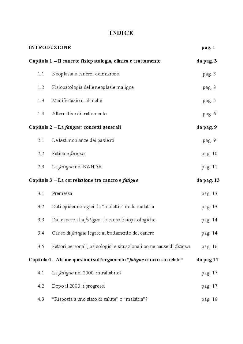 Indice della tesi: Fatigue cancro-correlata: questioni e aspetti del piano di assistenza infermieristica, Pagina 1