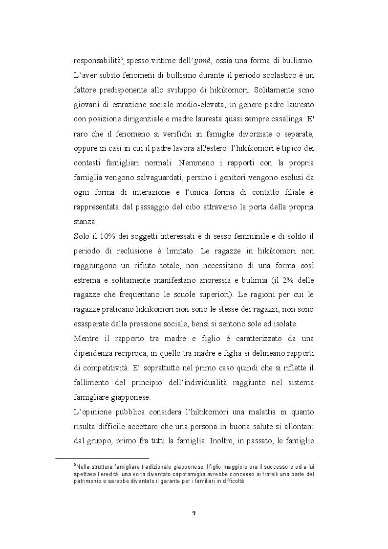 Estratto dalla tesi: Hikikomori, dal Giappone all'Italia