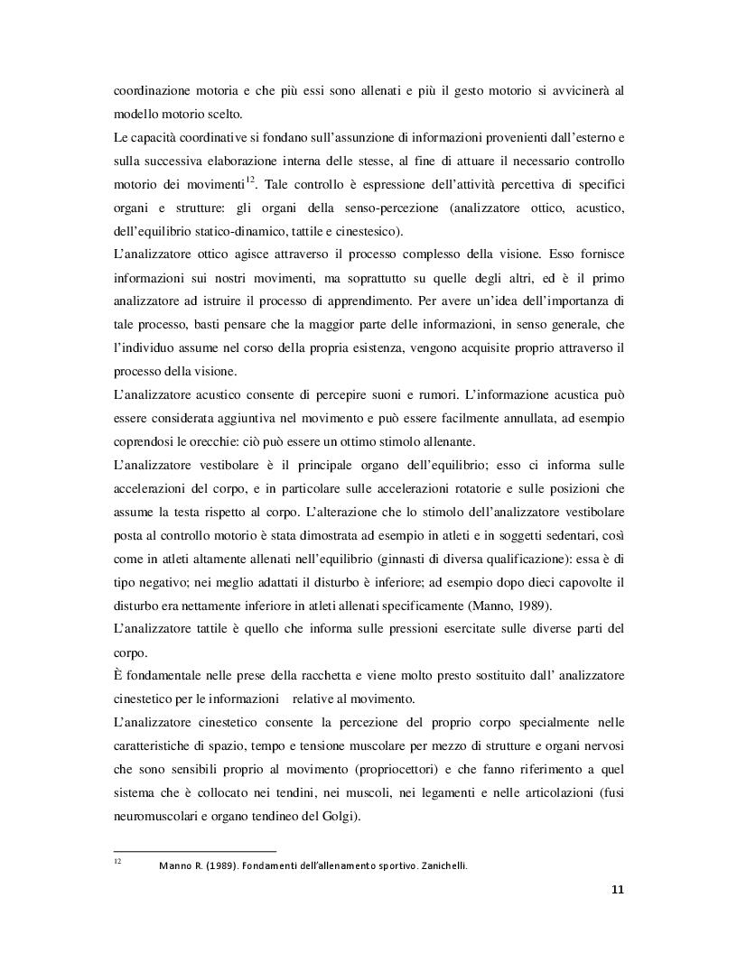 Estratto dalla tesi: La coordinazione motoria nel tennis nei bambini di 10-12 anni