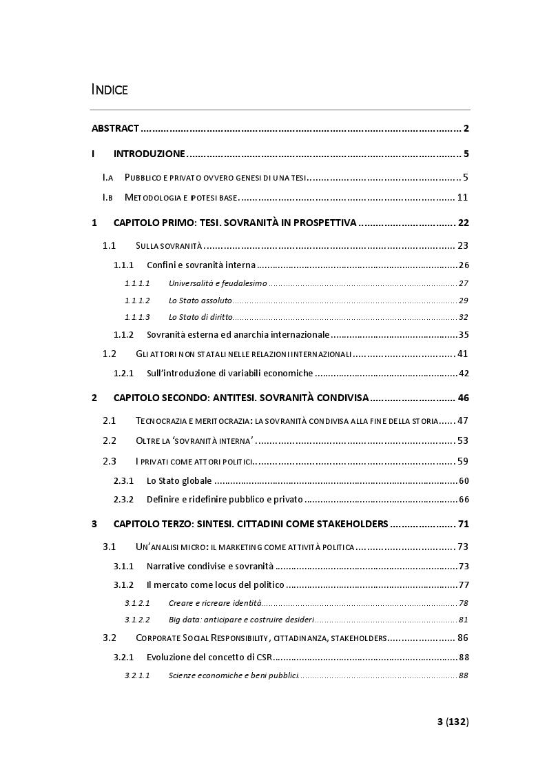 Indice della tesi: Sovranità condivisa: limiti e possibilità dei privati come attori politici globali, Pagina 1