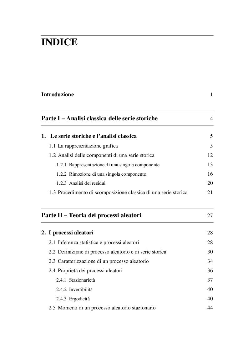Indice della tesi: Analisi delle serie storiche: il caso Airline, Pagina 1
