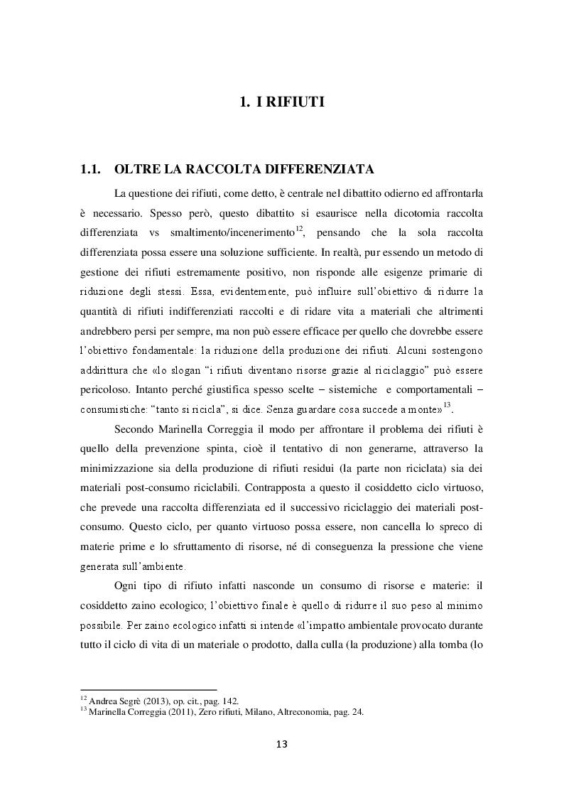 Estratto dalla tesi: La produzione di rifiuti, gli sprechi alimentari e le possibili soluzioni: il Progetto No Waste a Reggio Emilia