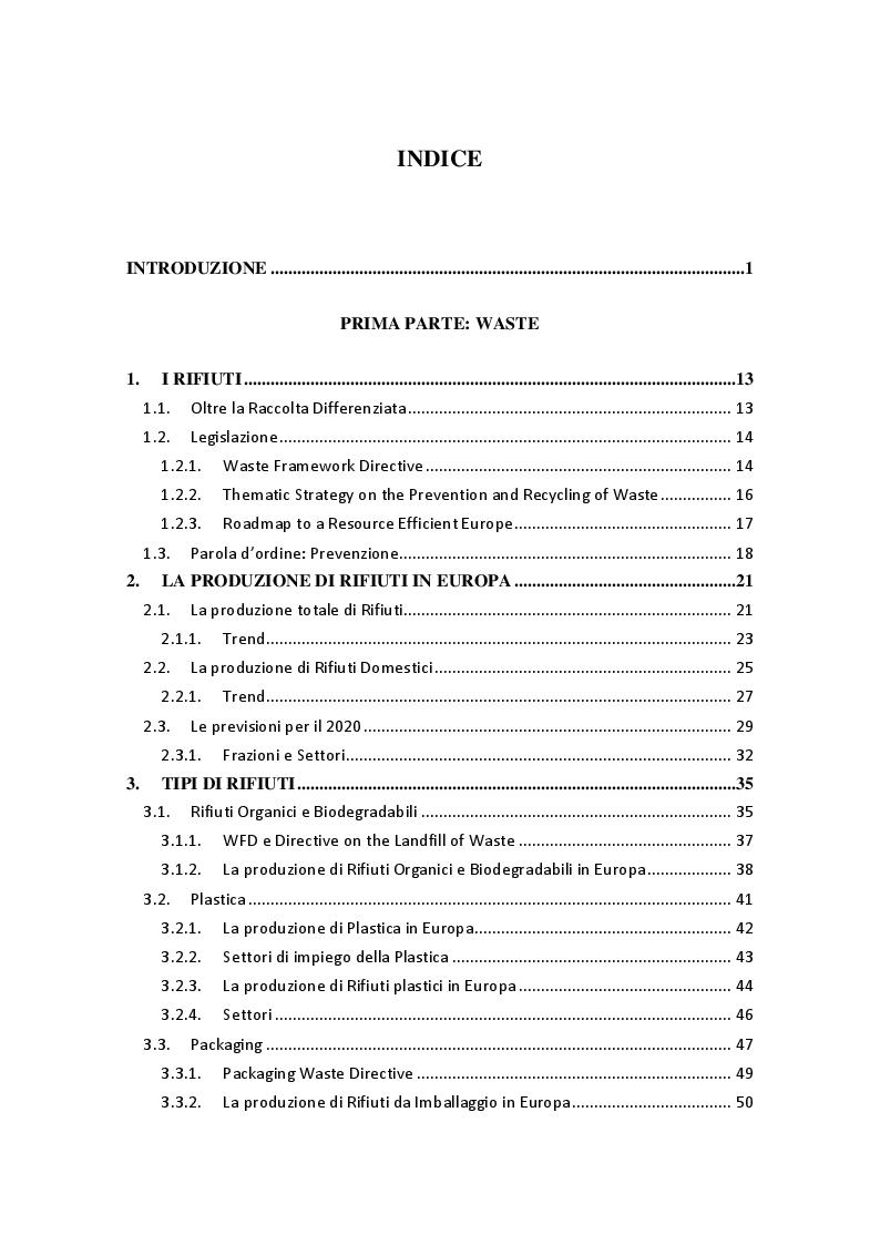 Indice della tesi: La produzione di rifiuti, gli sprechi alimentari e le possibili soluzioni: il Progetto No Waste a Reggio Emilia, Pagina 1
