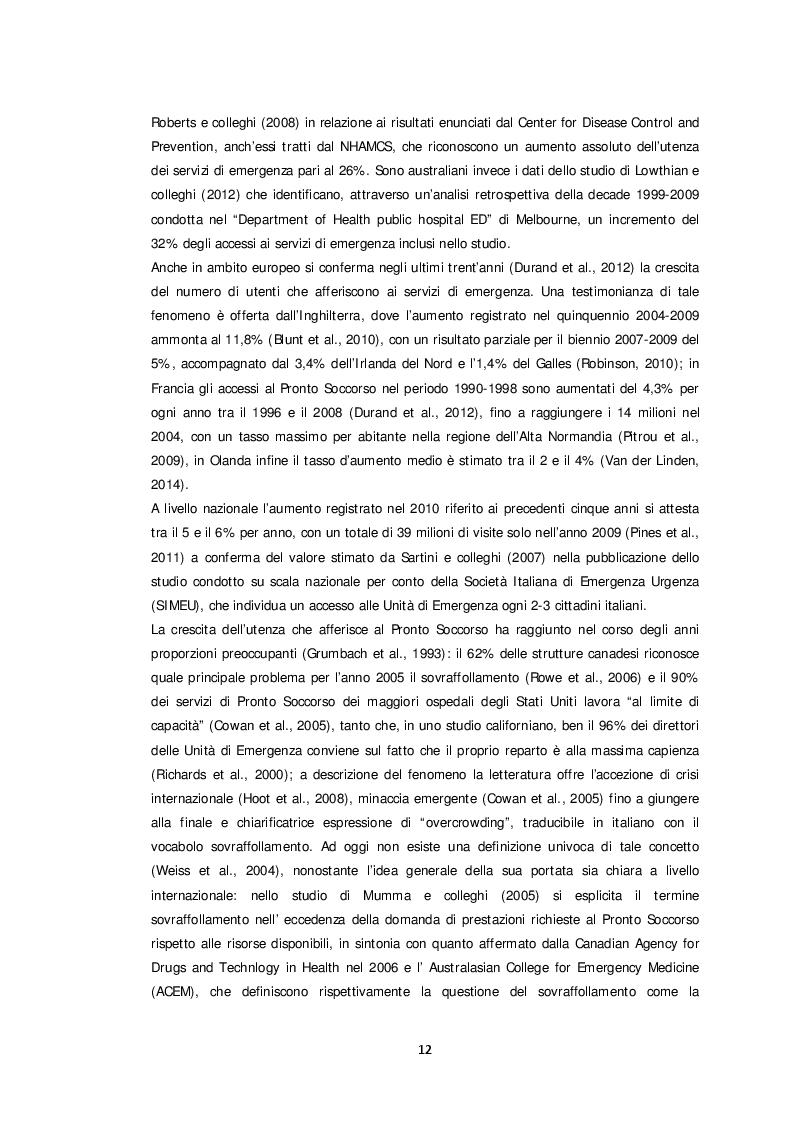 Estratto dalla tesi: Il paziente non urgente e l'accesso al Pronto Soccorso: una scelta consapevole? Studio di prevalenza.