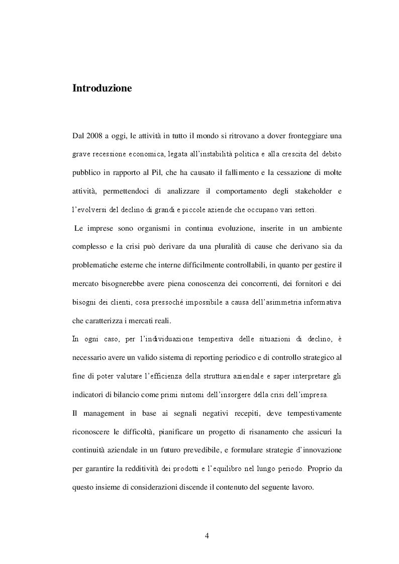 Crisi d'azienda e Innovazione: il caso Graziella Holding Spa - Tesi di Laurea