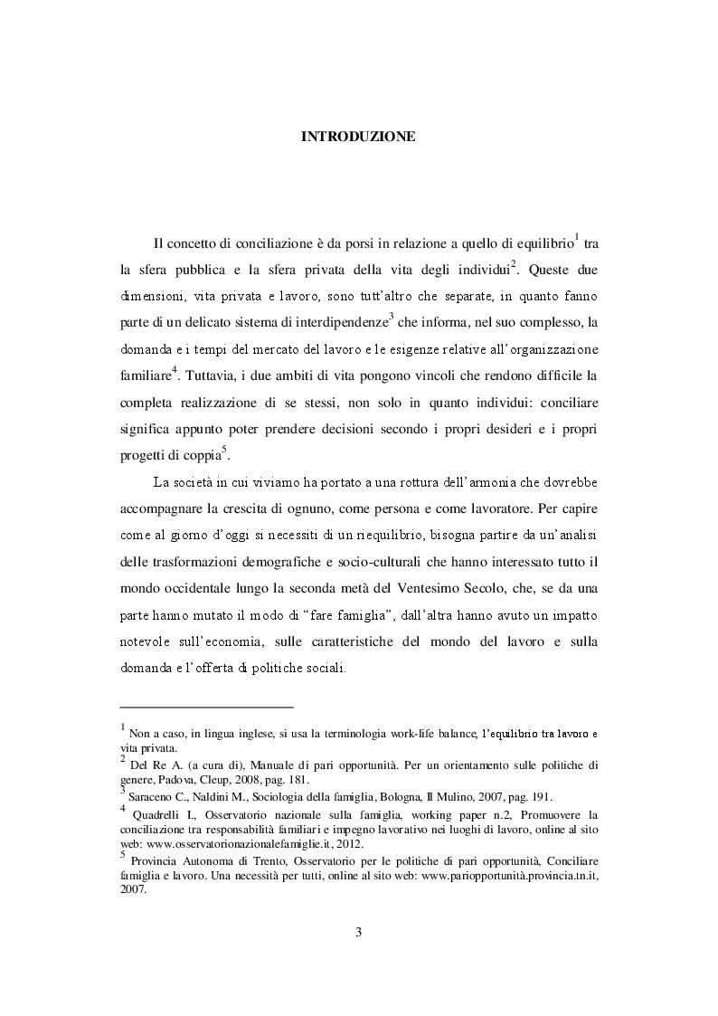La conciliazione tra i tempi di vita e di lavoro: risposte di policy multilivello - Tesi di Laurea