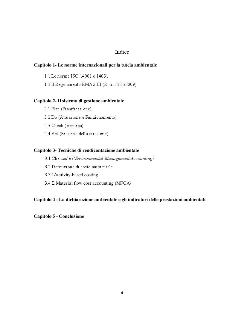 Indice della tesi: Verso una migliore performance ambientale: la regolamentazione internazionale delle attività economiche a favore dell'ambiente, Pagina 1