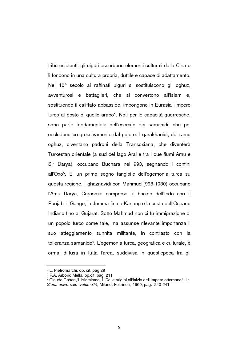 Anteprima della tesi: La politica estera della Turchia nei confronti delle nazioni turcofone della ex Unione Sovietica, Pagina 6