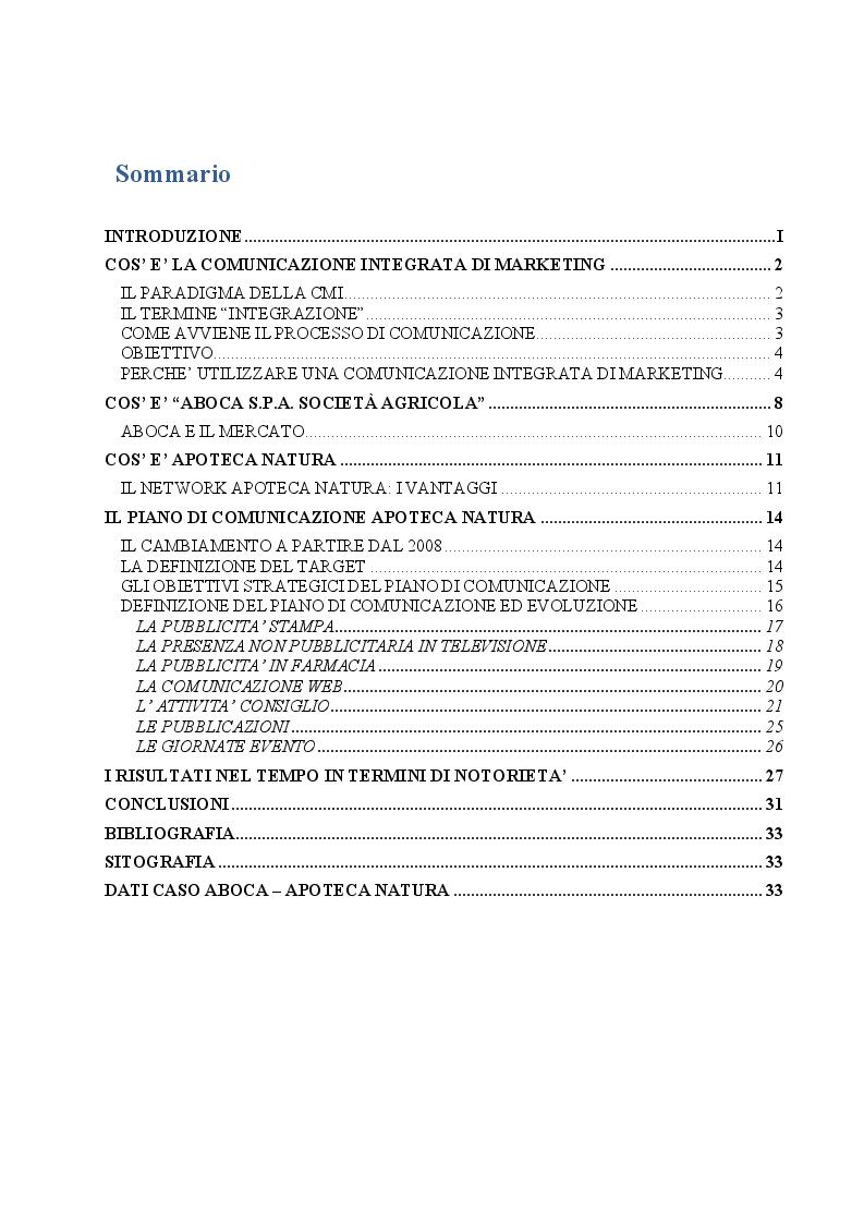 Indice della tesi: La comunicazione integrata di marketing: il caso Aboca - Apoteca Natura, Pagina 1