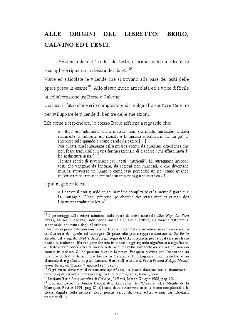 Estratto dalla tesi: Le collaborazioni fra Luciano Berio e Italo Calvino: i libretti d'opera