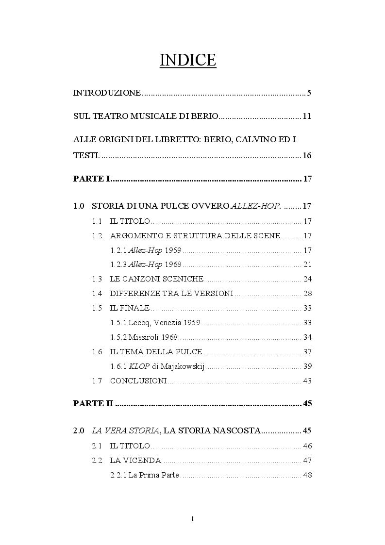 Indice della tesi: Le collaborazioni fra Luciano Berio e Italo Calvino: i libretti d'opera, Pagina 1