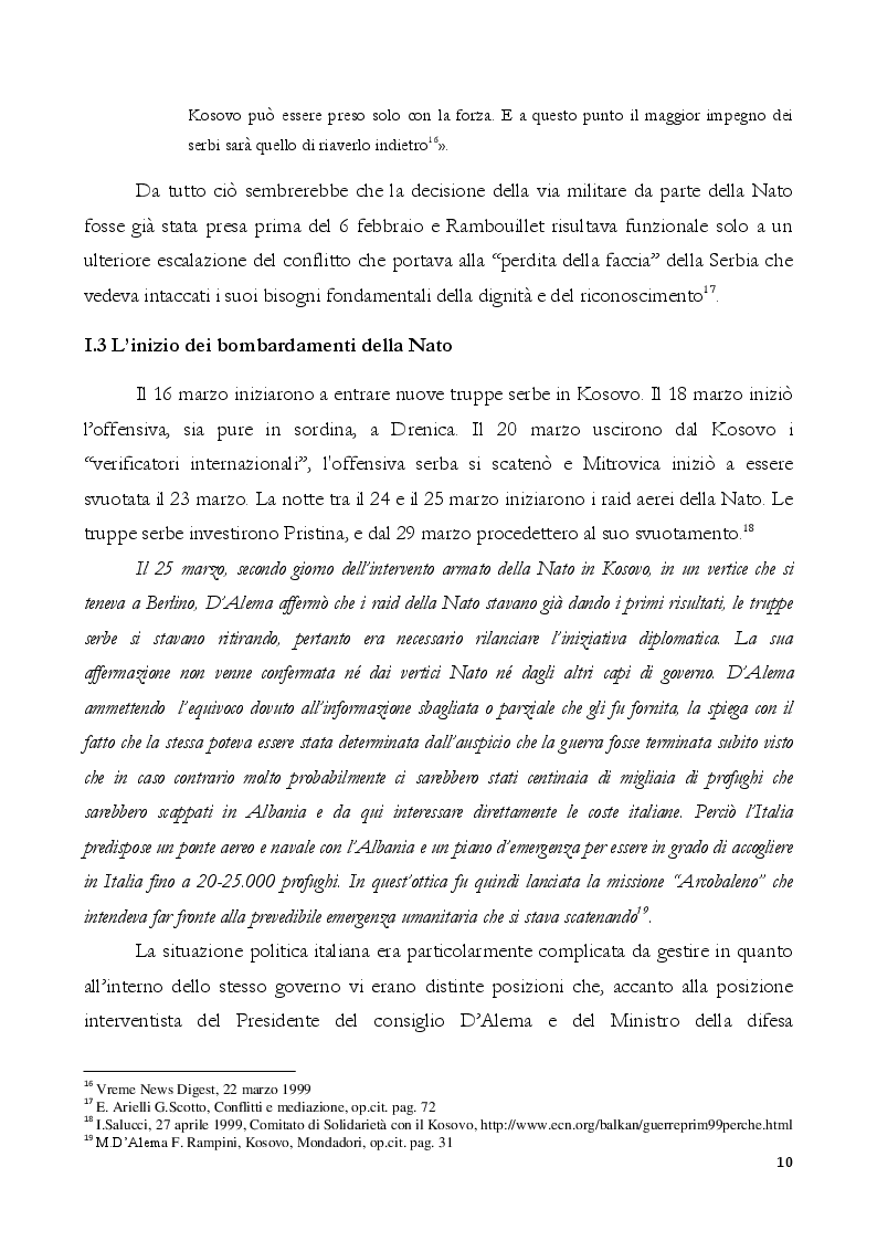 Estratto dalla tesi: Kosovo - Il racconto del Presidente Massimo D'Alema sotto la lente del sociologo