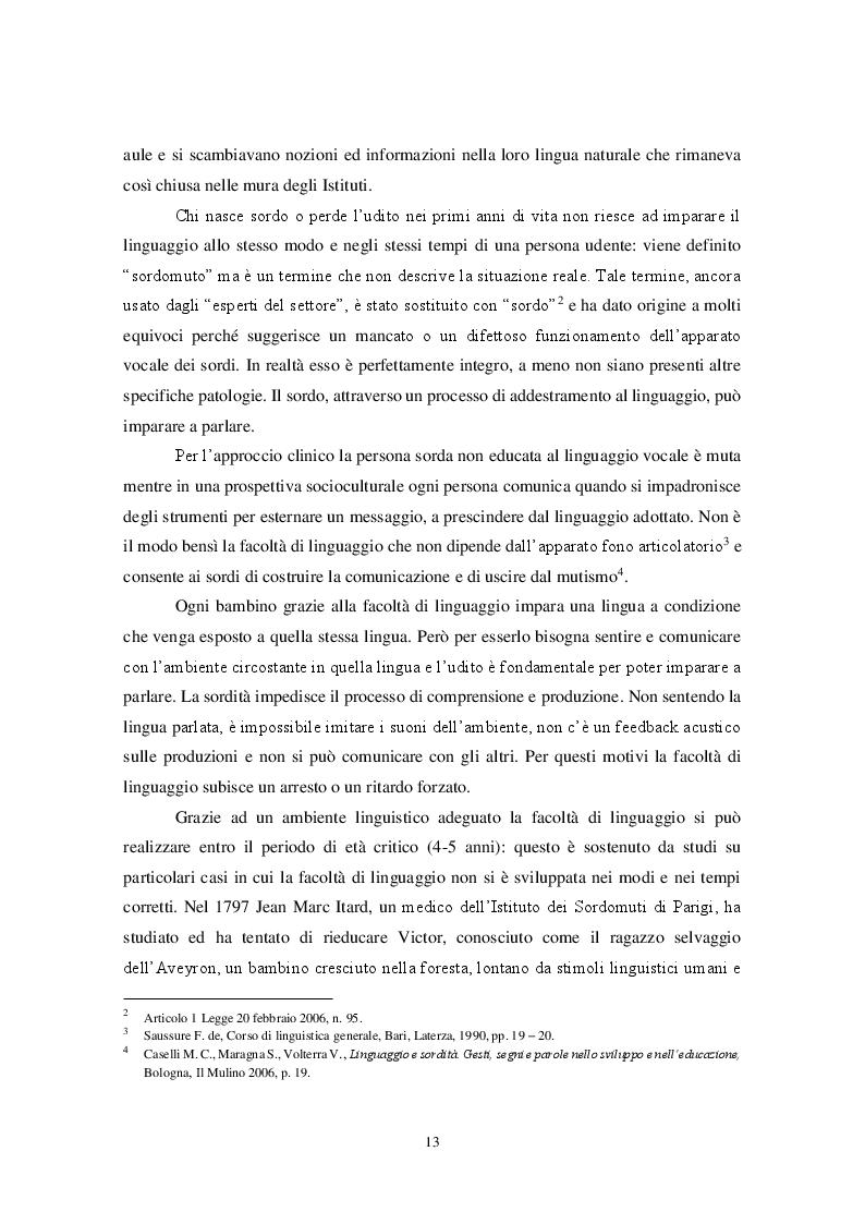 Estratto dalla tesi: Integrazione lavorativa dei sordi: utopia o realtà?