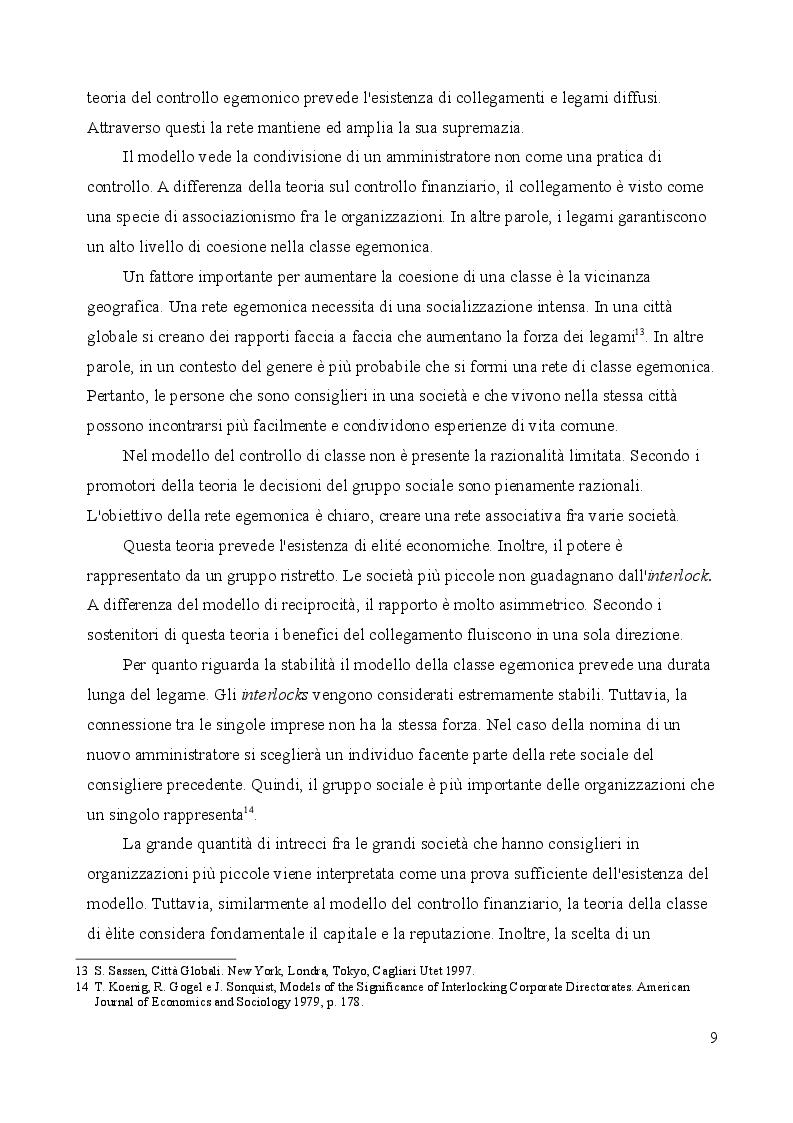 Estratto dalla tesi: Il fenomeno degli Interlocking directorates nella prospettiva della sociologia economica