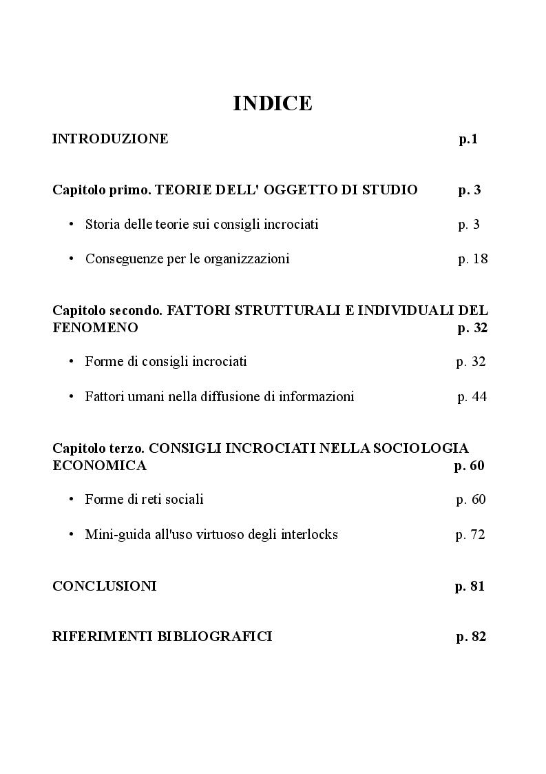 Indice della tesi: Il fenomeno degli Interlocking directorates nella prospettiva della sociologia economica, Pagina 1